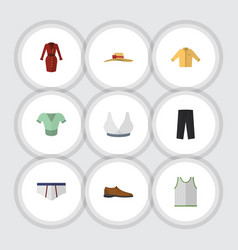Flat icon garment set of banyan pants singlet vector