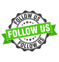 Follow us stamp sign seal vector