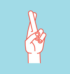 gesture lucky sign stylized hand with two vector image