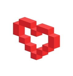 Heart 3d isometric icon vector
