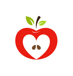 Heart shaped apple logo label emblem vector