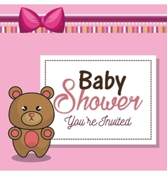 invitation baby shower card pink with bear desing vector image