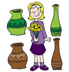 little girl pots and flowers vector image