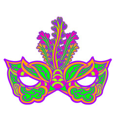 Multicolor carnival mask with feathers isolated on vector