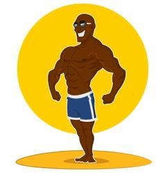 Muscular man posing vector