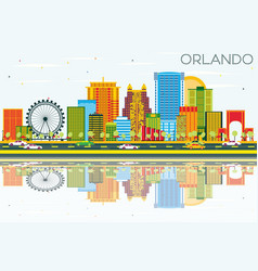 Orlando skyline with color buildings blue sky and vector