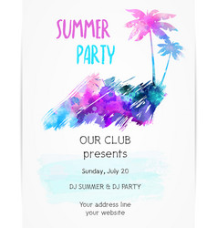 poster template for summer party with grunge vector image vector image