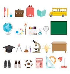 School supplies icons set vector
