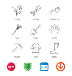 scissors hammer and gloves icons shovel signs vector image