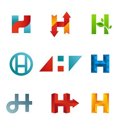Set of letter H logo icons design template vector image