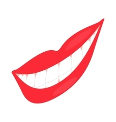 Smiling mouth with healthy teeth icon vector image vector image