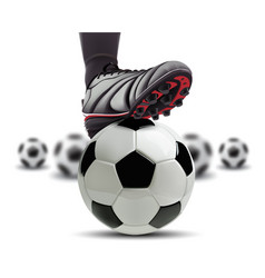 Soccer ball with football player feet on it vector