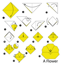 Step instructions how to make origami a flower vector
