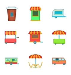 Street retail and market icons set cartoon style vector