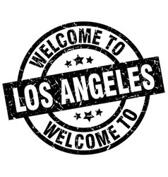 Welcome to los angeles black stamp vector