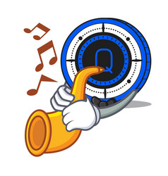 With trumpet qash coin mascot cartoon vector