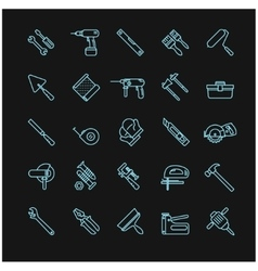 tools icons on a black background vector image