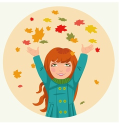 Little girl throws up autumn leaves vector