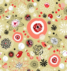 Flower texture with birds in love vector