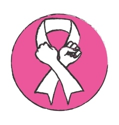 Emblem hand making the symbol breast cancer vector