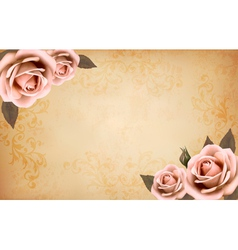 Retro background with beautiful pink roses with vector image