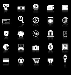 Payment icons with reflect on black background vector