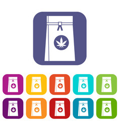 Bag with cannabis icons set vector