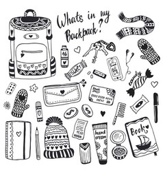 What is my backpack cute doodle hipster things set vector