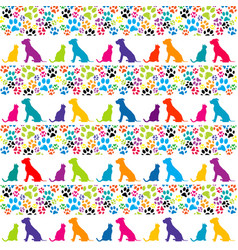 background with animal footprints and dog and cat vector image