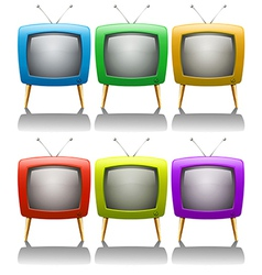 Six televisions with antenna vector