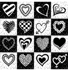 Hearts grunge background pattern vector image