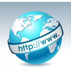 Globe with internet address vector