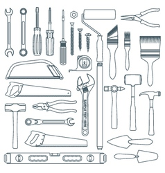 Dark outline various house remodel instruments set vector