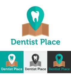 Flat dental clinic logo set vector