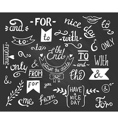 Hand drawn ampersands and catchwords the with from vector