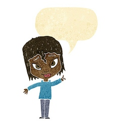 Cartoon woman with idea with speech bubble vector