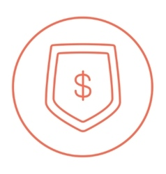 Shield with dollar symbol line icon vector