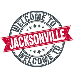 welcome to Jacksonville red round vintage stamp vector image