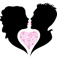 Silhouette of boy and girl in love vector