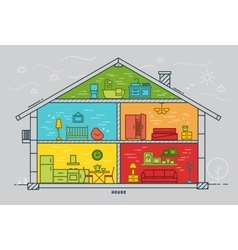 Flat house silhouette vector image