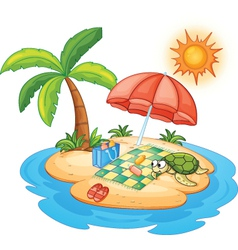 Tropical island beach vector