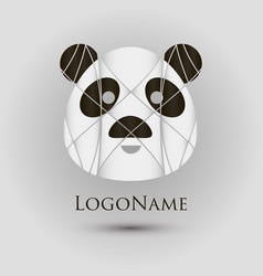 abstract logo with panda head modern style vector image