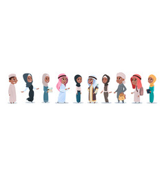 arab children girls and boys group small cartoon vector image
