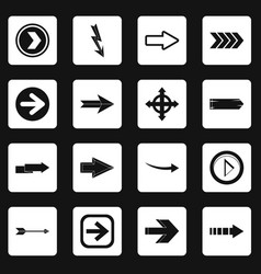 arrow icons set squares vector image
