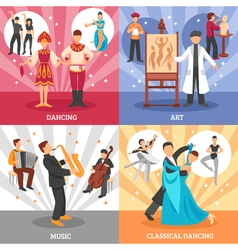 Artist people concept icons set vector