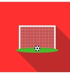 Ball in football gate icon flat style vector