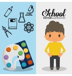 Cartoon school pupil boy palette paint color vector