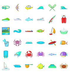 Clean water icons set cartoon style vector