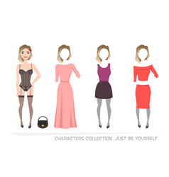 clothing sets for female constructor character vector image