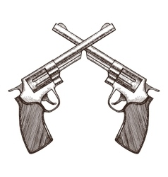 Crossed pistols hand draw sketch vector